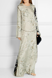Gilliam chain-embellished printed satin-twill maxi dress