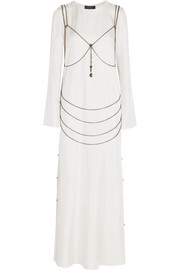 Goselin chain-embellished silk-twill gown
