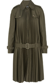 Pleated twill trench coat