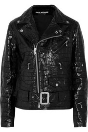 Croc-effect coated cotton biker jacket