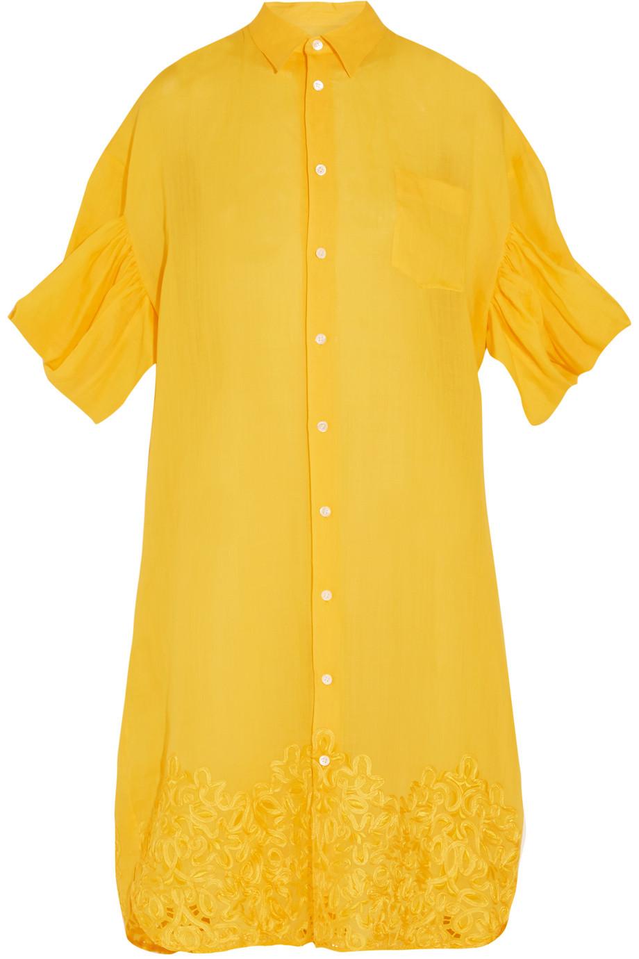 Junya Watanabe Oversized Embroidered Linen Shirt Dress, Bright Yellow, Women's - Embroidered, Size: XS