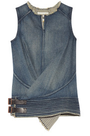 Leather-trimmed denim top