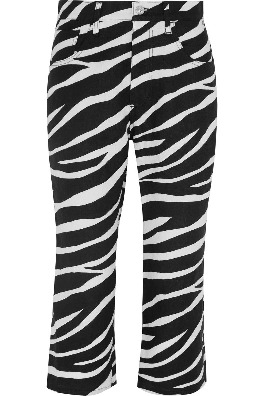 Junya Watanabe Cropped Zebra-Print Linen Flared Pants, Black/Zebra Print, Women's, Size: XS
