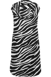 Draped zebra-print georgette dress