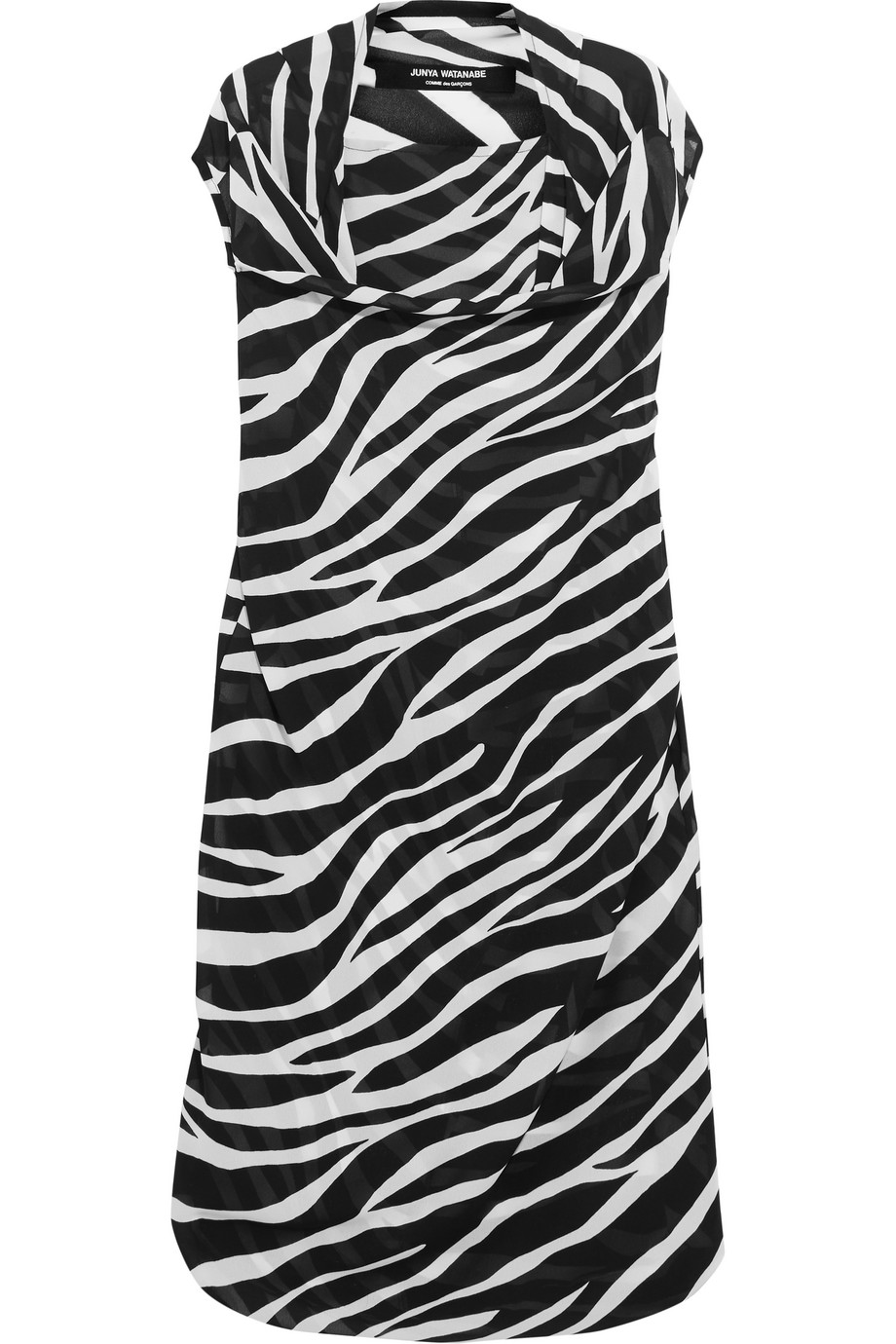 Junya Watanabe Draped Zebra-Print Georgette Dress, Black/Zebra Print, Women's - spotted, Size: S
