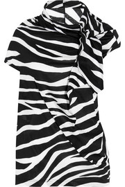 Zebra-print cotton-jersey T-shirt