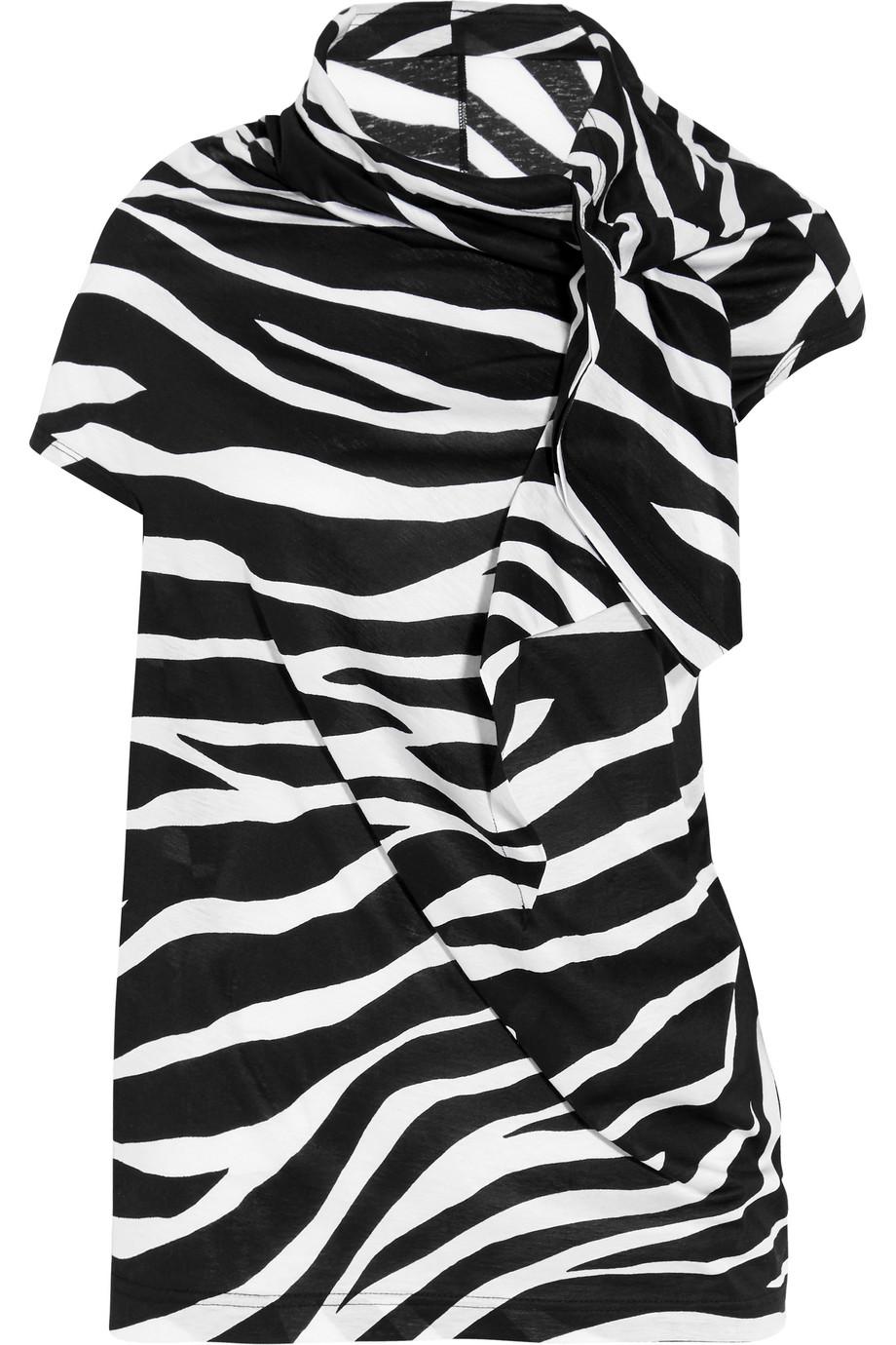 Junya Watanabe Zebra-Print Cotton-Jersey T-Shirt, Black/Zebra Print, Women's
