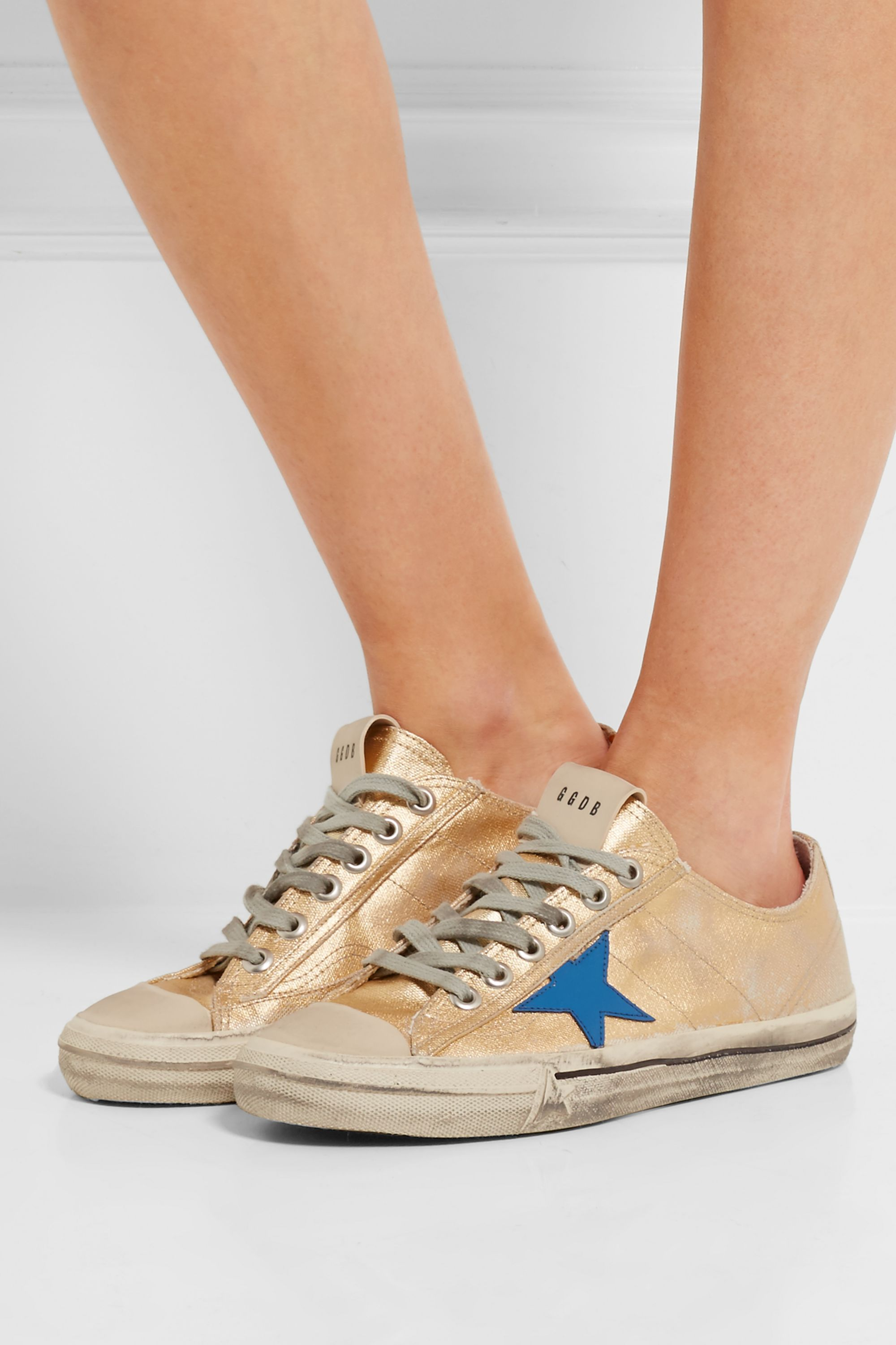 Gold V-Star 2 distressed leather