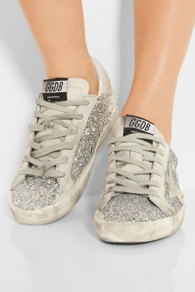 golden goose deluxe brand super star glittered leather and brushed suede sneakers net a. Black Bedroom Furniture Sets. Home Design Ideas