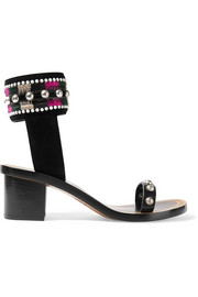 Joss embroidered leather and suede sandals