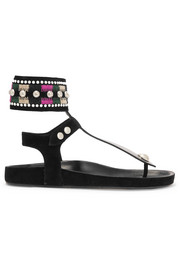 Lise embellished suede and leather sandals