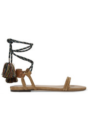 Astrid tasseled leather-trimmed suede sandals