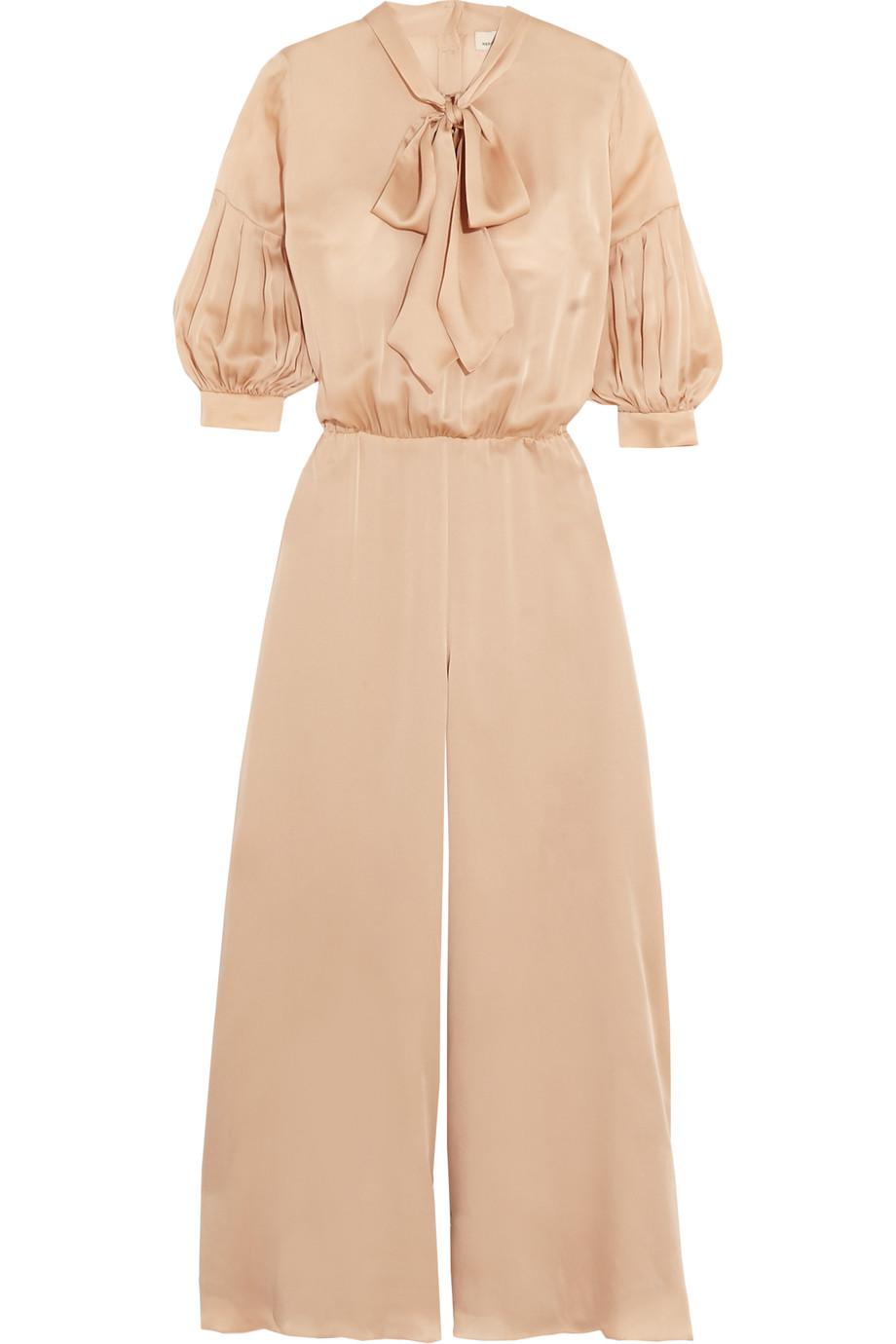 Pussy-Bow Silk-Satin Jumpsuit, Merchant Archive, Neutral, Women's, Size: 10