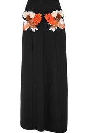 Embroidered stretch-wool crepe skirt