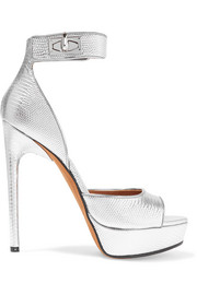 Givenchy Shark Lock platform sandals in lizard-effect leather