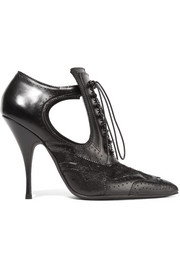 Givenchy Cutout ankle boots in black leather and lace