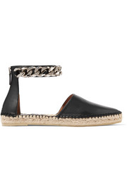 Maremma espadrilles in chain-trimmed black leather