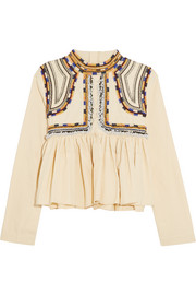 Sachi embroidered cotton-twill top