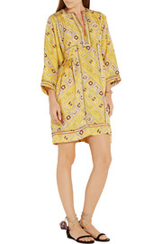 Thurman embroidered printed silk dress