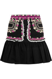 Shad embroidered cotton-twill mini skirt
