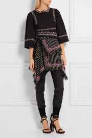 Isabel Marant Raffi embellished striped denim wrap mini skirt