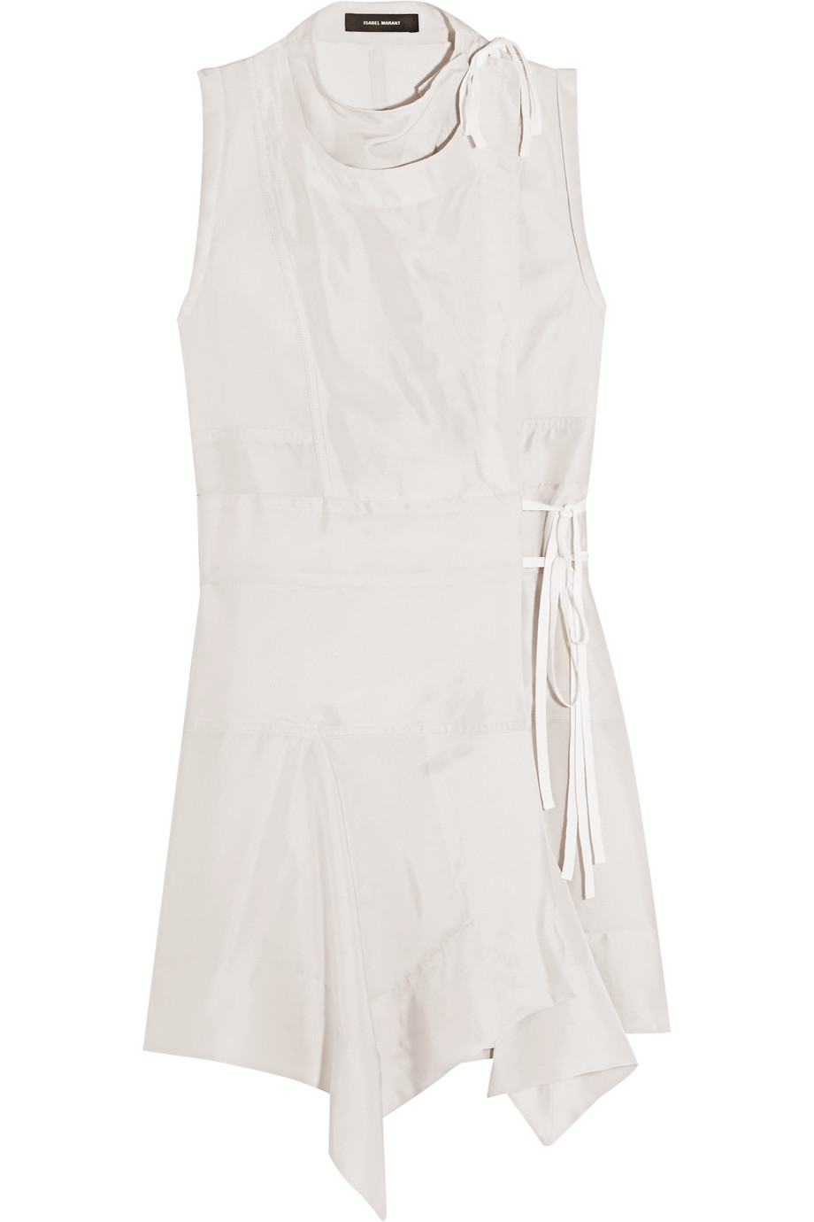 Isabel Marant Lewin Wrap-Effect Silk Mini Dress, Off-White, Women's, Size: 34