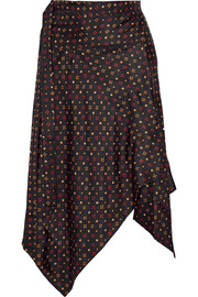 Treva printed silk-faille wrap skirt