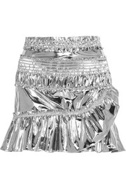 Jeanne metallic coated cotton-blend mini skirt