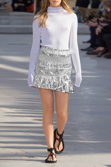 776057bf7b Isabel Marant. Jeanne metallic coated cotton-blend mini skirt. £203. Play.  Zoom In