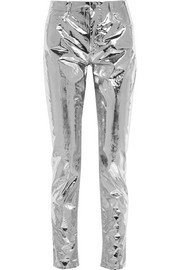 Isabel Marant Jada metallic coated cotton-blend skinny pants