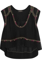 Curtis cropped embroidered silk-bourette top