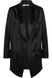 Blazer in black silk-satin
