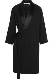 Belted trench coat in satin-trimmed wool