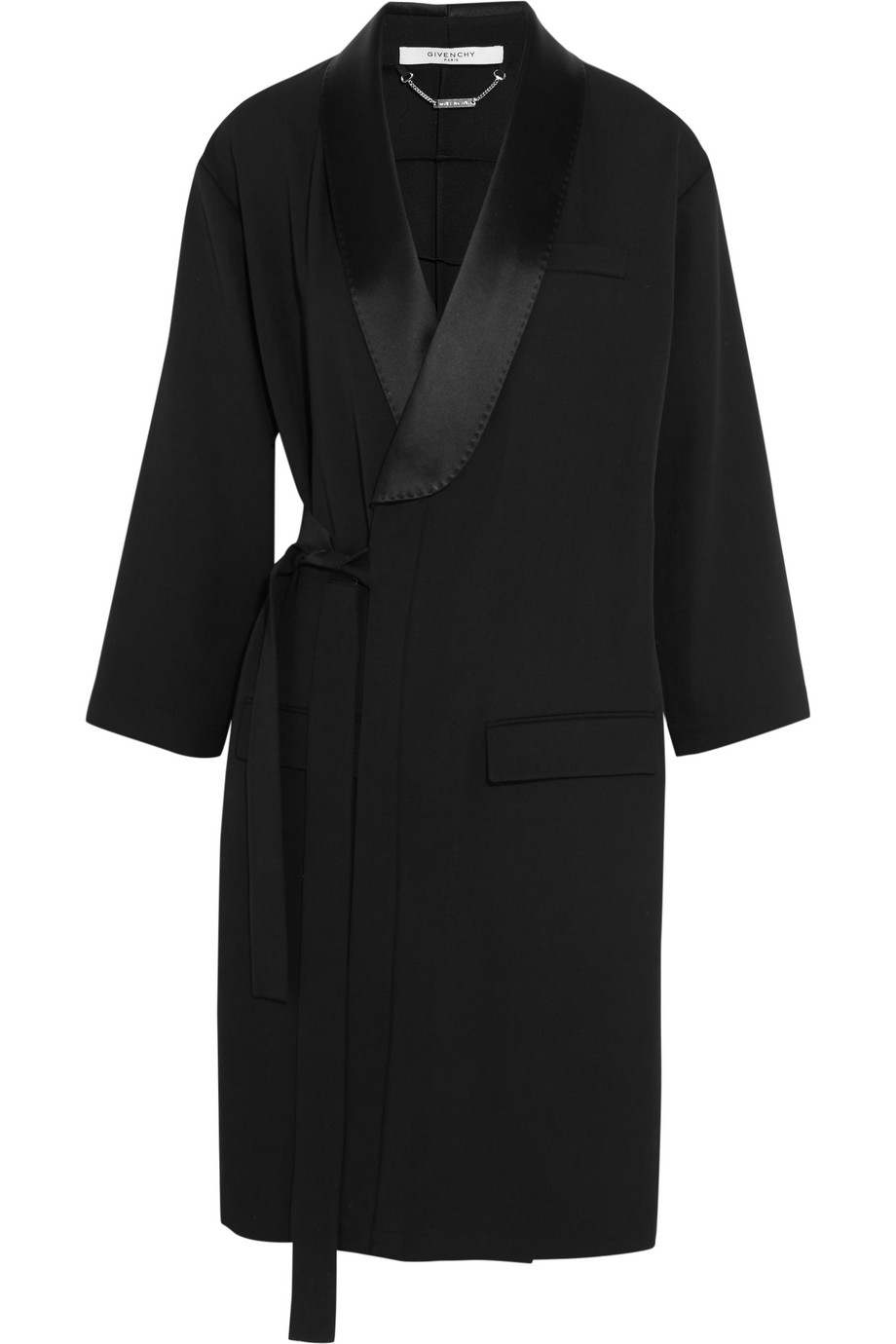 Givenchy Belted Trench Coat in Satin-Trimmed Wool, Black, Women's, Size: 34