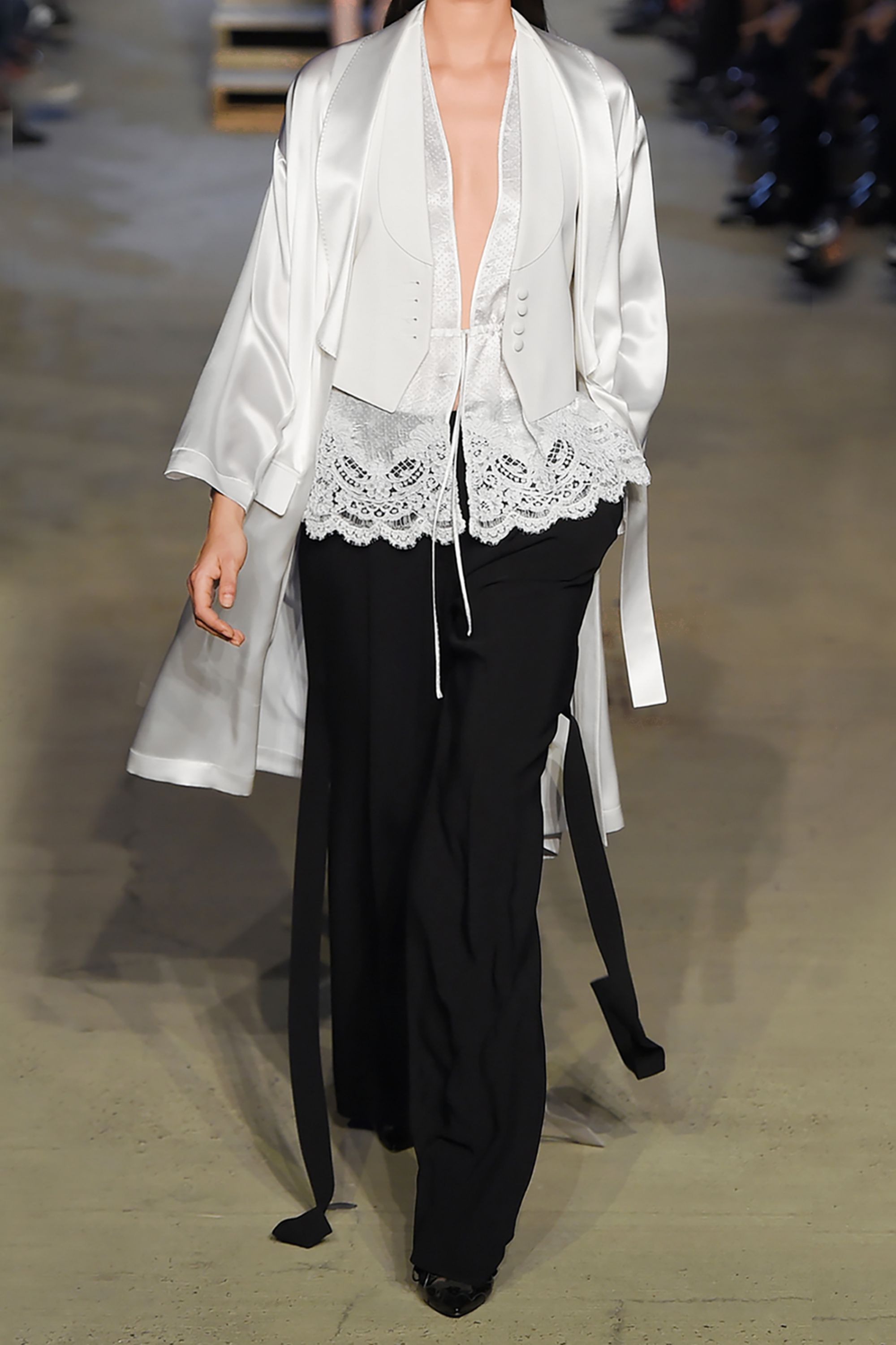Givenchy Halterneck top in white lace-trimmed satin-jacquard