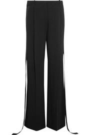 Wide-leg pants in silk satin-trimmed stretch-cady