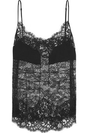 Givenchy Camisole in black georgette-paneled lace