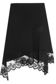 Asymmetric midi skirt in black embroidered tulle-trimmed silk crepe de chine