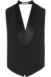 Vest in black wool and satin