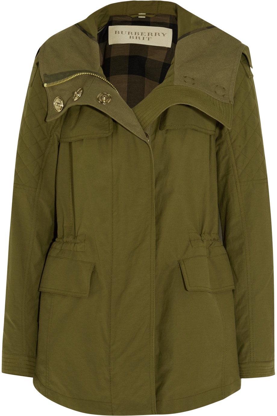 Burberry Brit Hooded Cotton-Blend Parka, Army Green, Women's, Size: 16