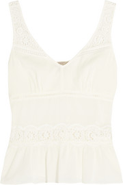 Crochet-trimmed cotton-voile top
