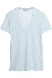 Burberry Brit Pointelle-trimmed slub linen T-shirt
