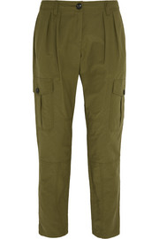 Pleated cotton-blend tapered pants