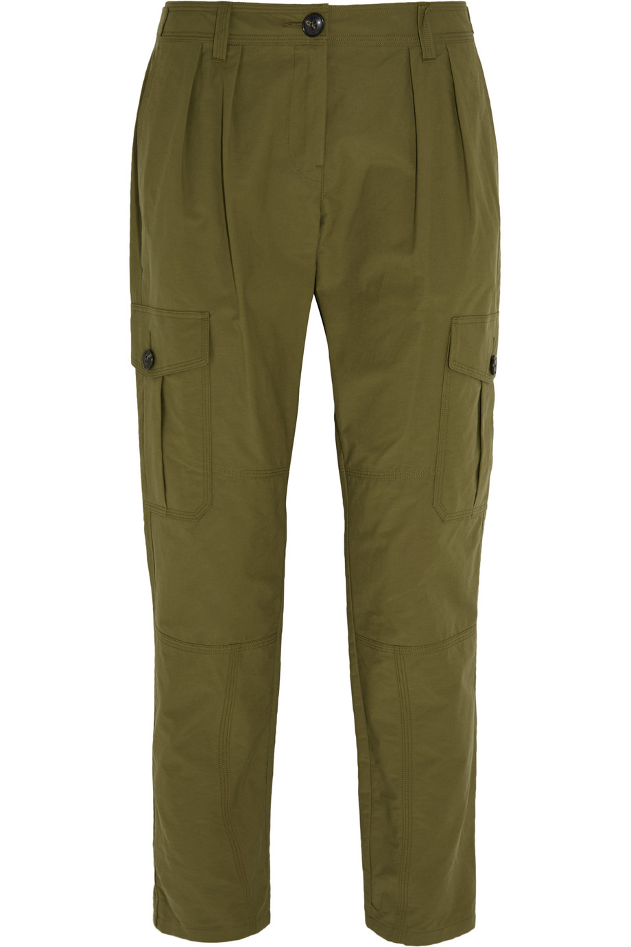 Burberry Brit Pleated Cotton-Blend Tapered Pants, Army Green, Women's, Size: 4