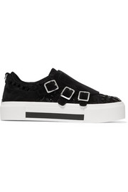 Alexander McQueen Crosta woven suede and patent-leather platform sneakers