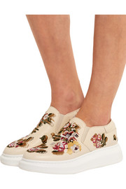 Alexander McQueen Embroidered leather exaggerated-sole slip-on sneakers