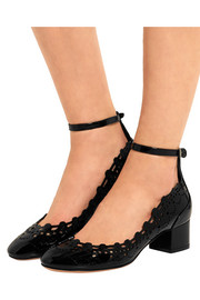 Alexander McQueen Embroidered laser-cut patent-leather pumps