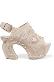 Alexander McQueen Embroidered suede clogs