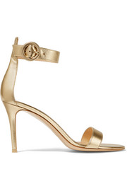 Gianvito Rossi Metallic textured-leather sandals