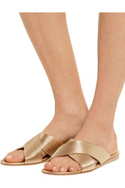 Gianvito Rossi Metallic leather slides